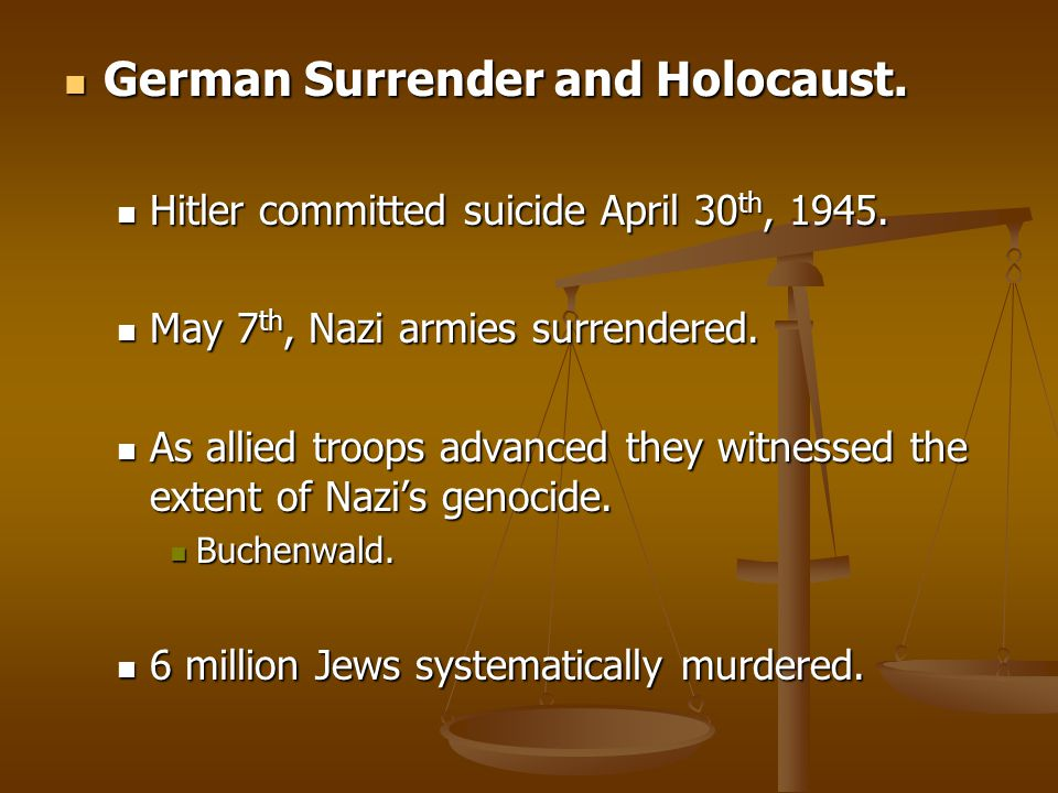 German Surrender and Holocaust.
