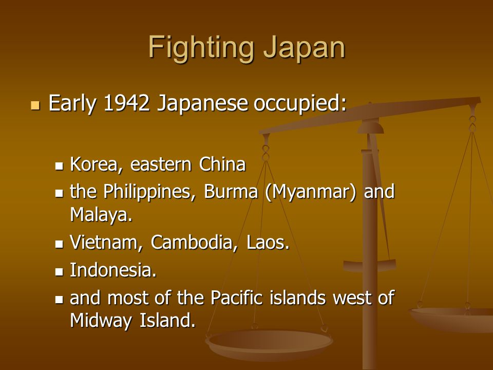 Fighting Japan Early 1942 Japanese occupied: Korea, eastern China