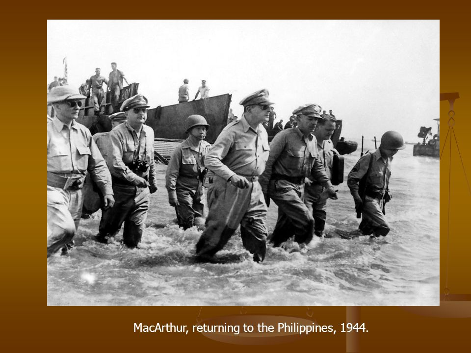 MacArthur, returning to the Philippines, 1944.
