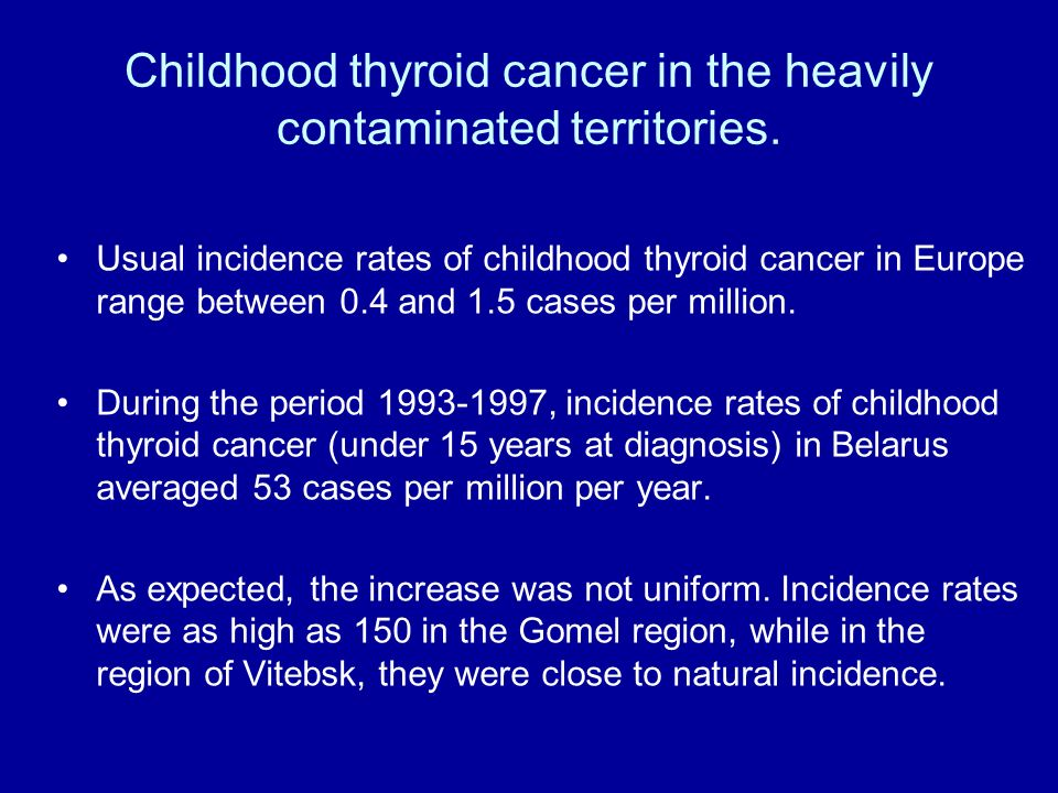Childhood thyroid cancer in the heavily contaminated territories.