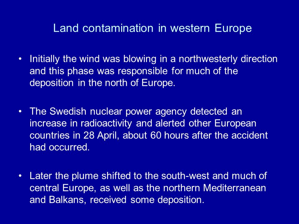 Land contamination in western Europe