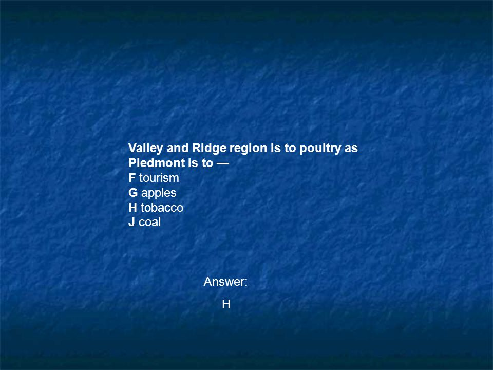 Valley and Ridge region is to poultry as Piedmont is to —