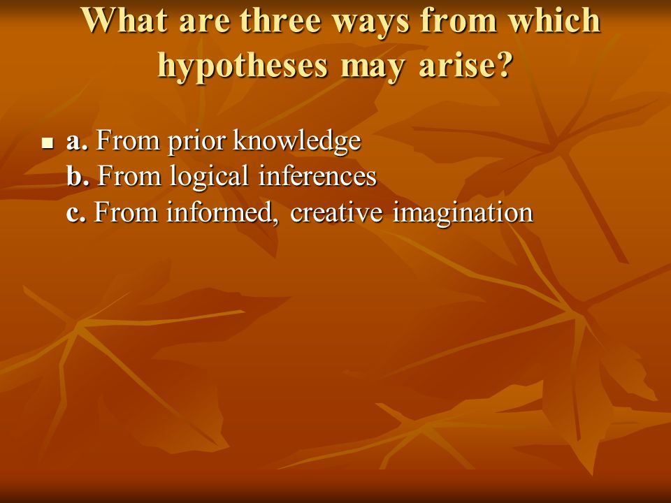 What are three ways from which hypotheses may arise