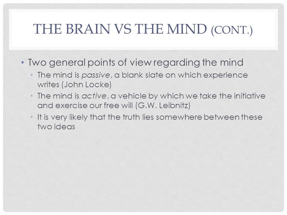 The Brain vs The Mind (cont.)