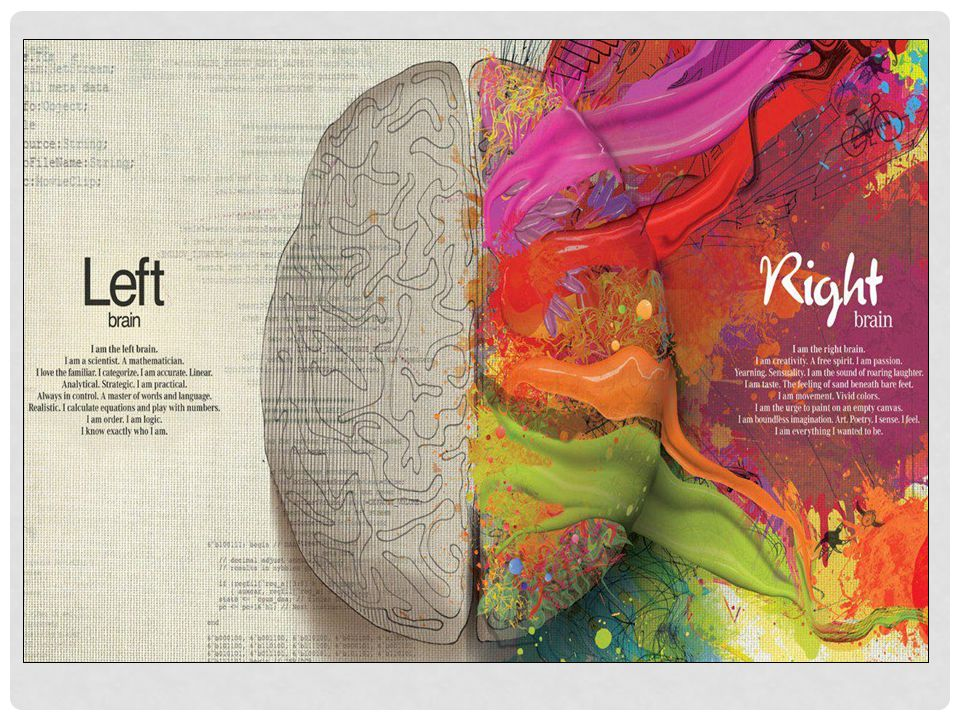 Here's an artist's interpretation of the differences between the left and right hemispheres and how they function.