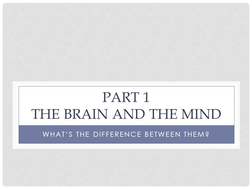 Part 1 The brain and the mind