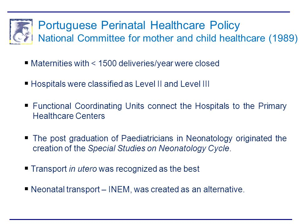 Portuguese Perinatal Healthcare Policy National Committee for mother and child healthcare (1989)