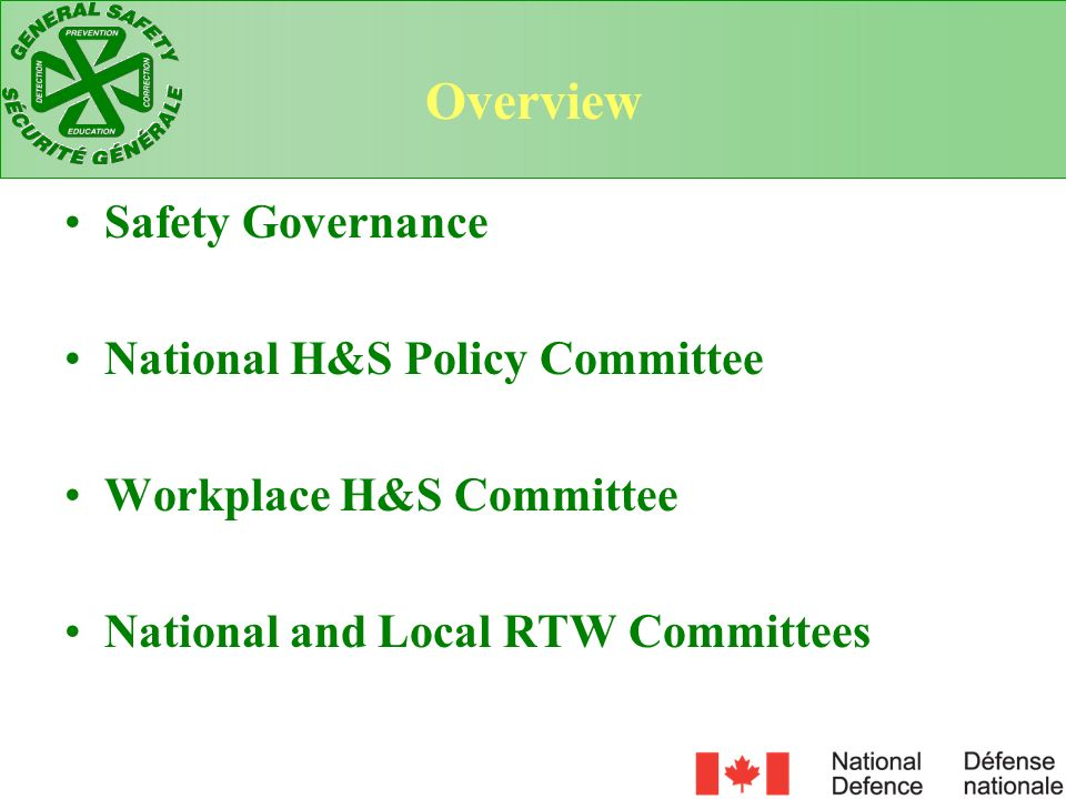 Overview Safety Governance National H&S Policy Committee