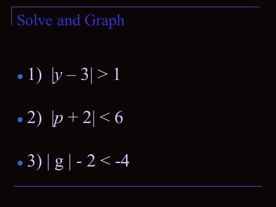 1) |y – 3| > 1 2) |p + 2| < 6 3) | g | - 2 < -4