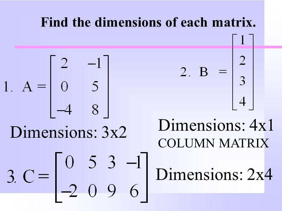 Dimensions: 4x1 COLUMN MATRIX Dimensions: 3x2