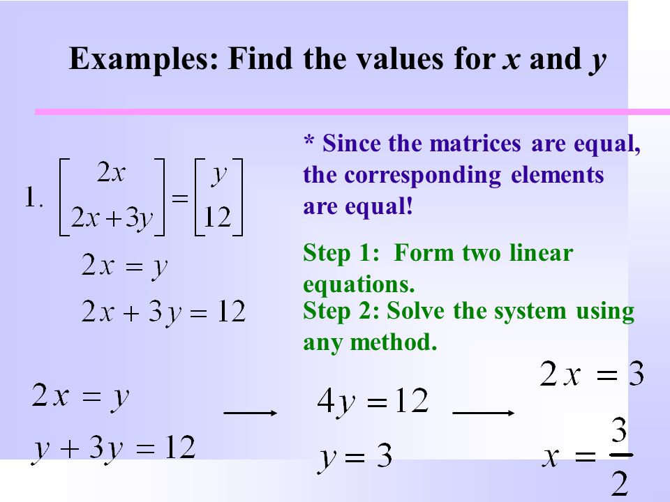Examples: Find the values for x and y