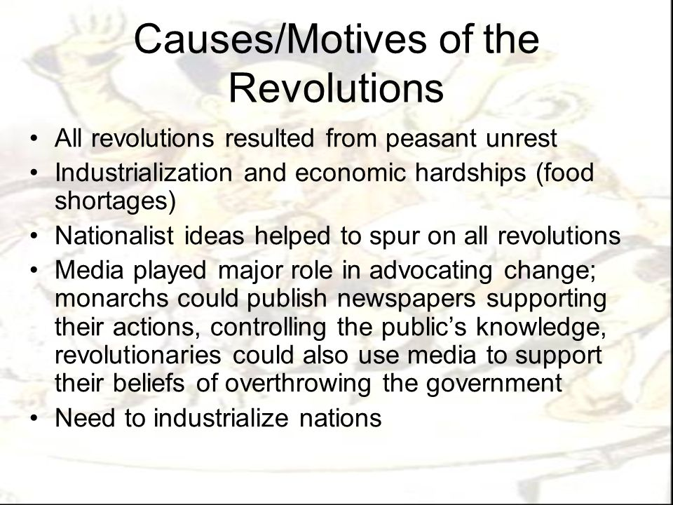 Causes/Motives of the Revolutions