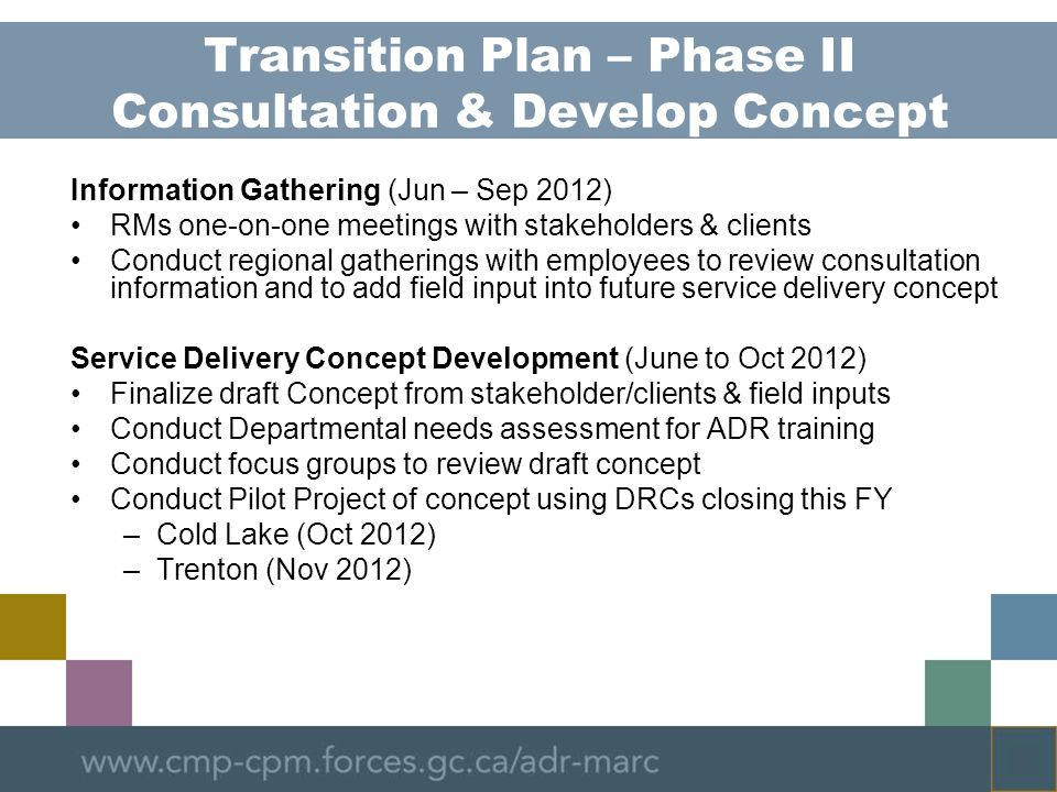 Transition Plan – Phase II Consultation & Develop Concept