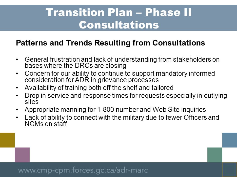 Transition Plan – Phase II Consultations
