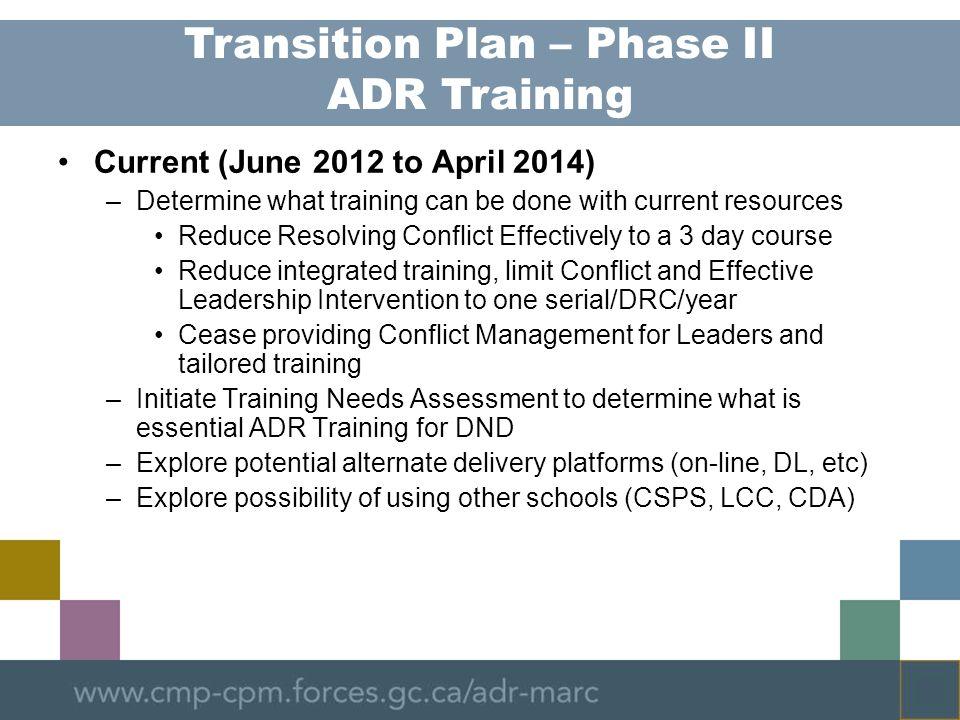 Transition Plan – Phase II ADR Training