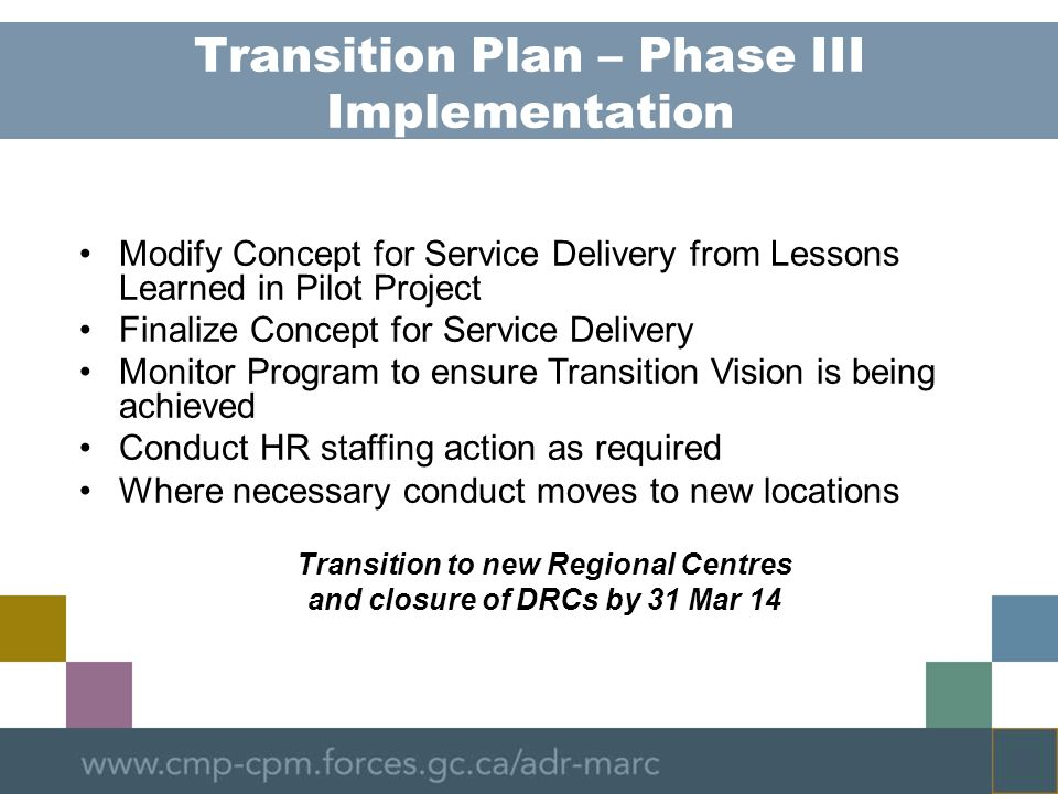 Transition Plan – Phase III Implementation