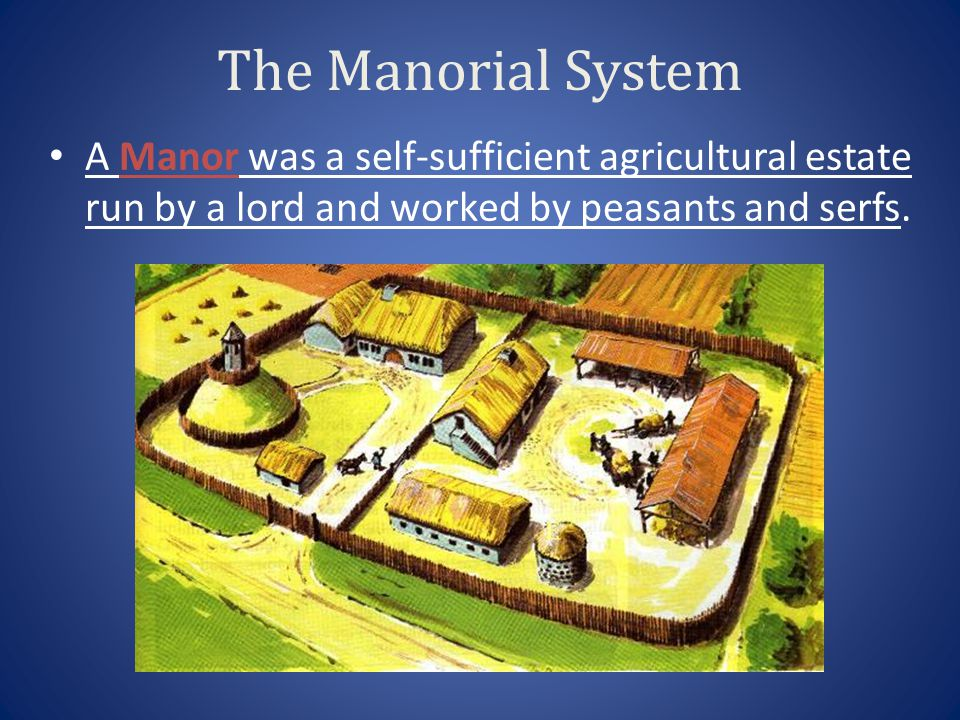 The Manorial System A Manor was a self-sufficient agricultural estate run by a lord and worked by peasants and serfs.