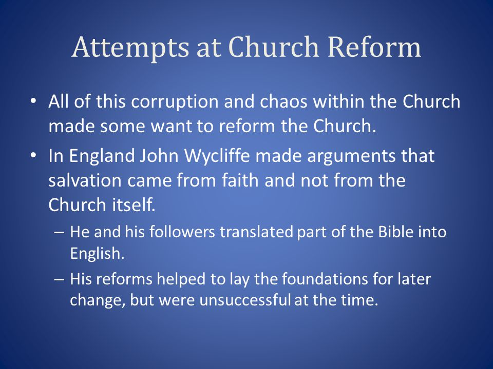 Attempts at Church Reform