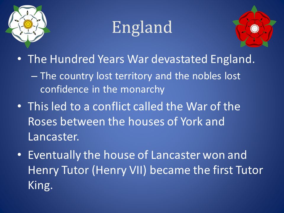 England The Hundred Years War devastated England.