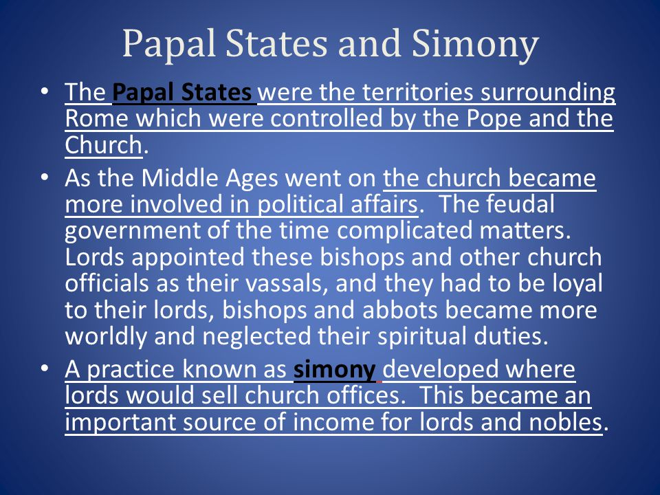 Papal States and Simony