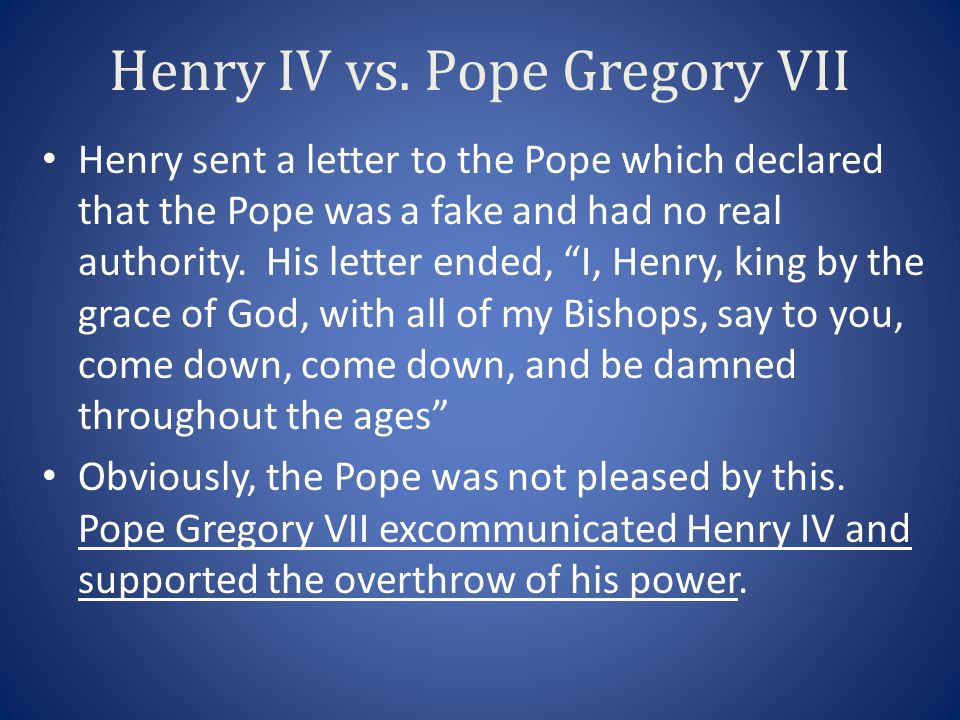 Henry IV vs. Pope Gregory VII