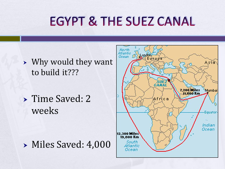 EGYPT & THE SUEZ CANAL Time Saved: 2 weeks Miles Saved: 4,000