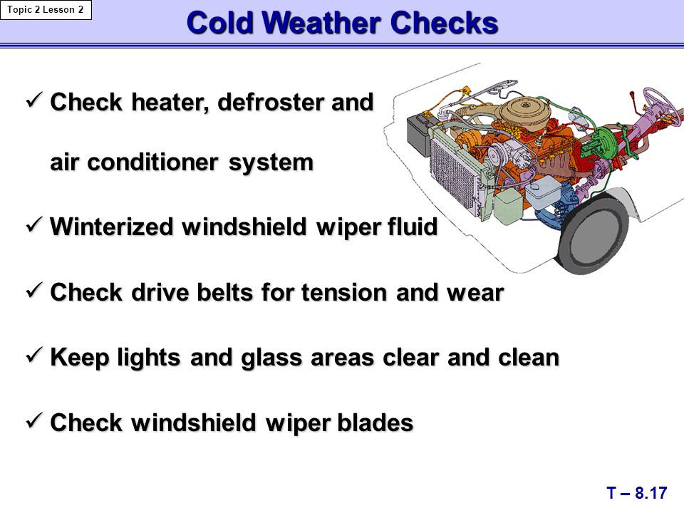 Cold Weather Checks Check heater, defroster and air conditioner system