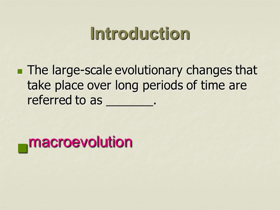 macroevolution Introduction