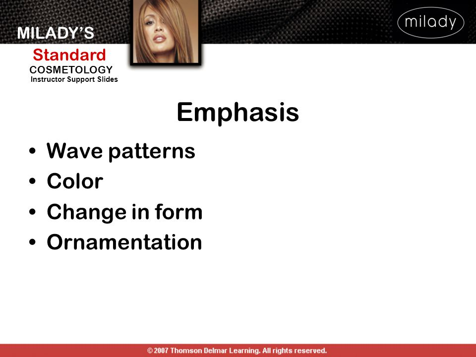Emphasis Wave patterns Color Change in form Ornamentation