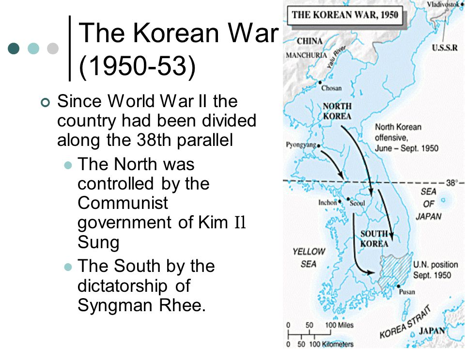 The Korean War (1950-53) Since World War II the country had been divided along the 38th parallel.