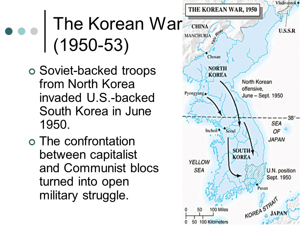 The Korean War (1950-53) Soviet-backed troops from North Korea invaded U.S.-backed South Korea in June 1950.