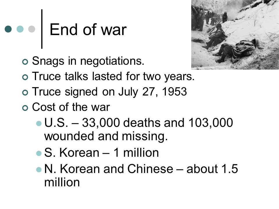 End of war U.S. – 33,000 deaths and 103,000 wounded and missing.