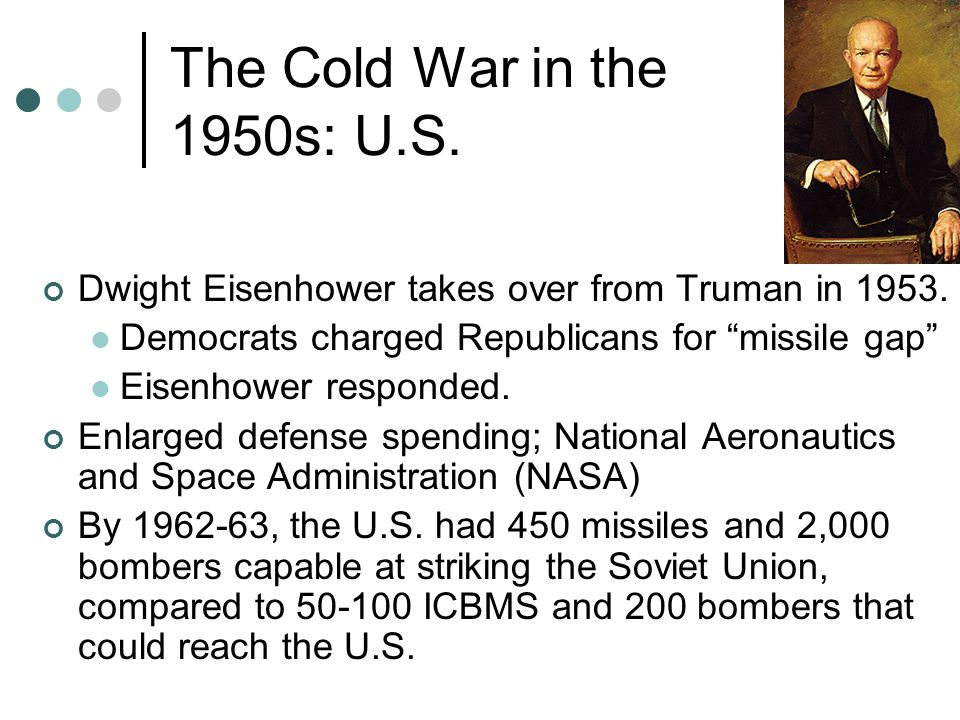 The Cold War in the 1950s: U.S. Dwight Eisenhower takes over from Truman in 1953. Democrats charged Republicans for missile gap