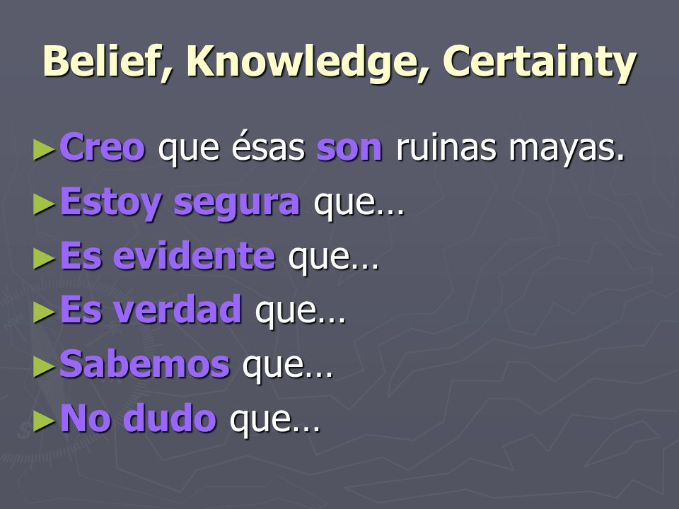 Belief, Knowledge, Certainty