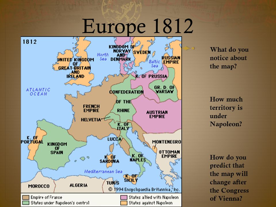 Europe 1812 What do you notice about the map How much territory is