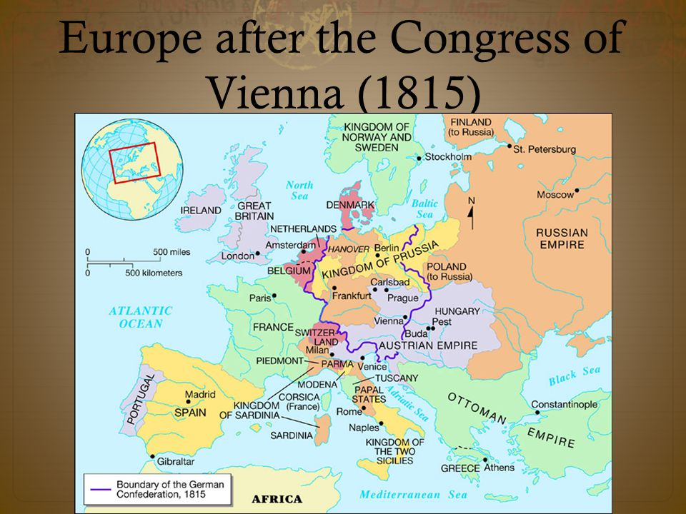 Europe after the Congress of Vienna (1815)