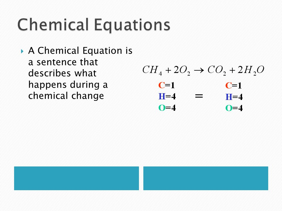 Chemical Equations A Chemical Equation is a sentence that describes what happens during a chemical change.