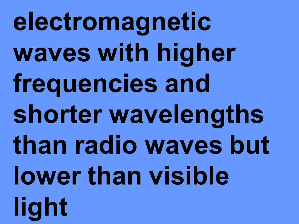 electromagnetic waves with higher frequencies and shorter wavelengths than radio waves but lower than visible light
