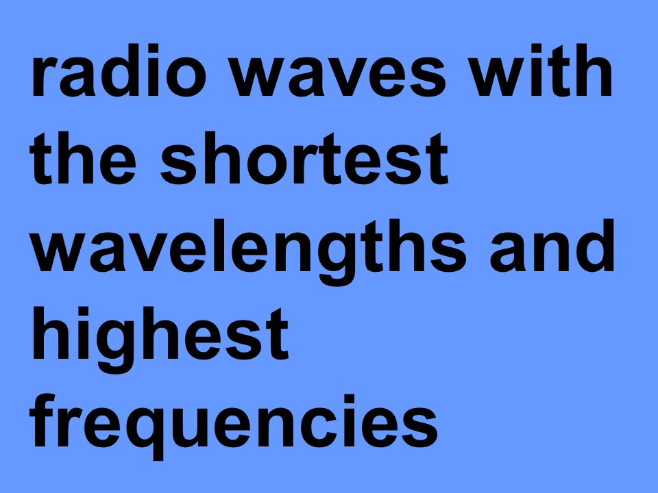 radio waves with the shortest wavelengths and highest frequencies