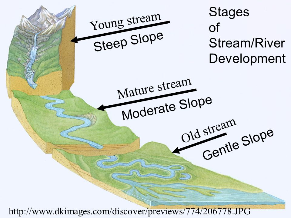 Stages of Stream/River Development Young stream