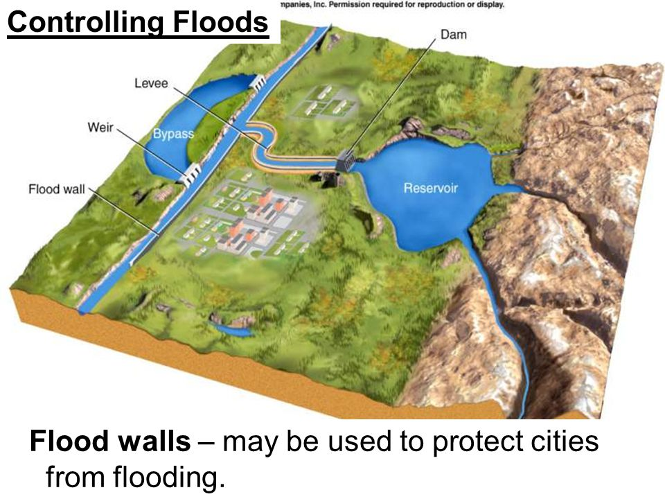 Controlling Floods Flood walls – may be used to protect cities from flooding.