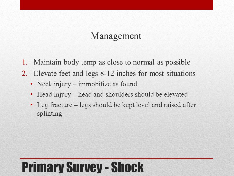 Primary Survey - Shock Management