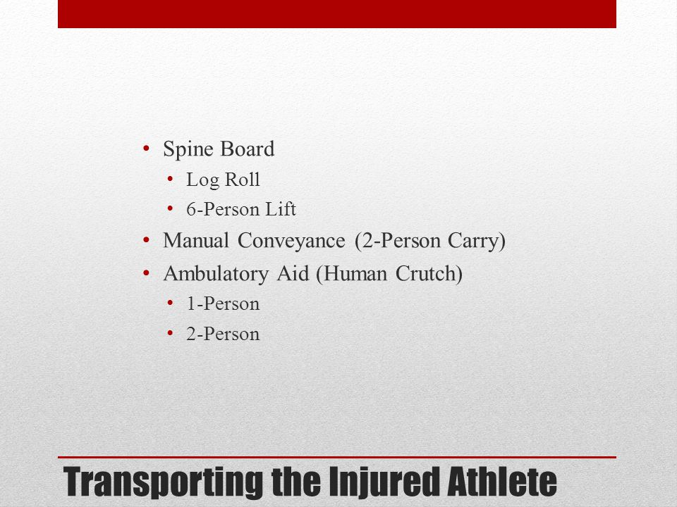 Transporting the Injured Athlete