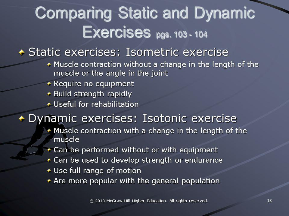 Comparing Static and Dynamic Exercises pgs. 103 - 104