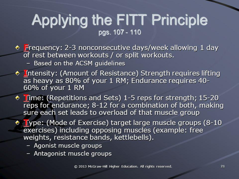 Applying the FITT Principle pgs. 107 - 110