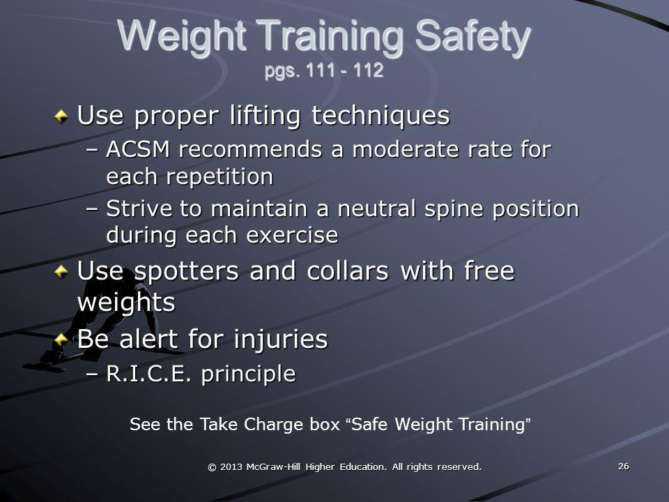 Weight Training Safety pgs. 111 - 112