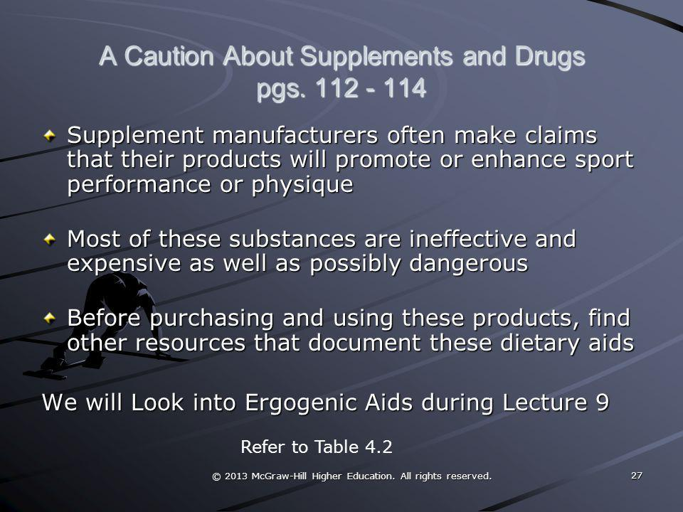 A Caution About Supplements and Drugs pgs. 112 - 114