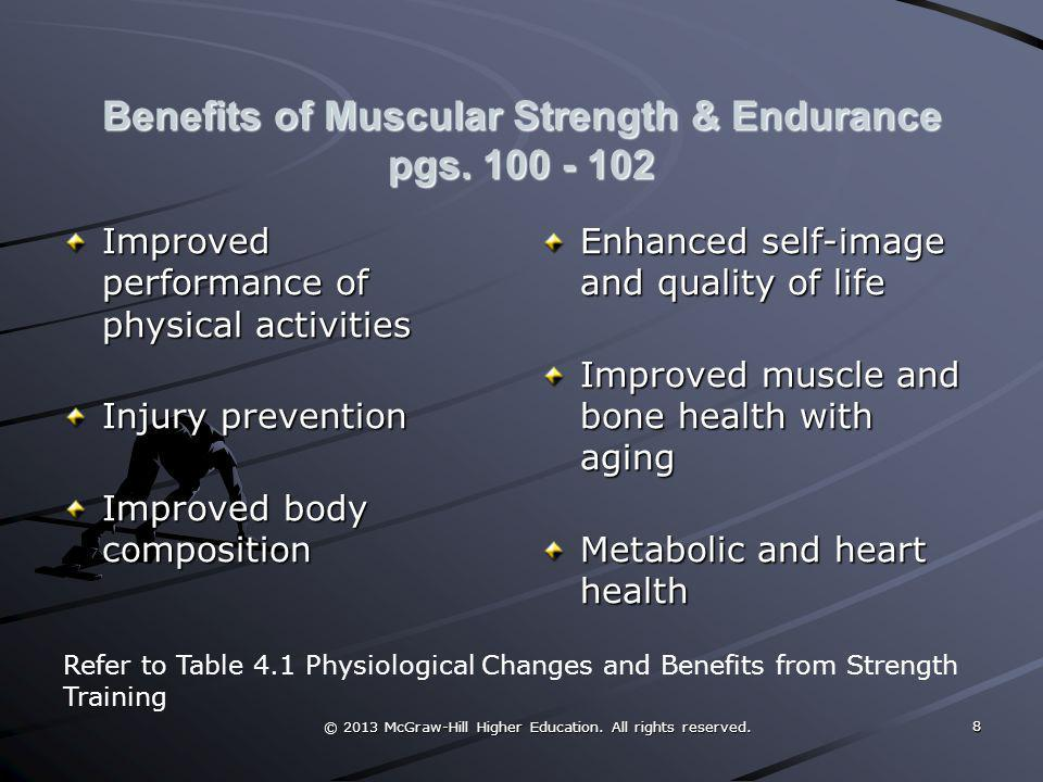 Benefits of Muscular Strength & Endurance pgs. 100 - 102