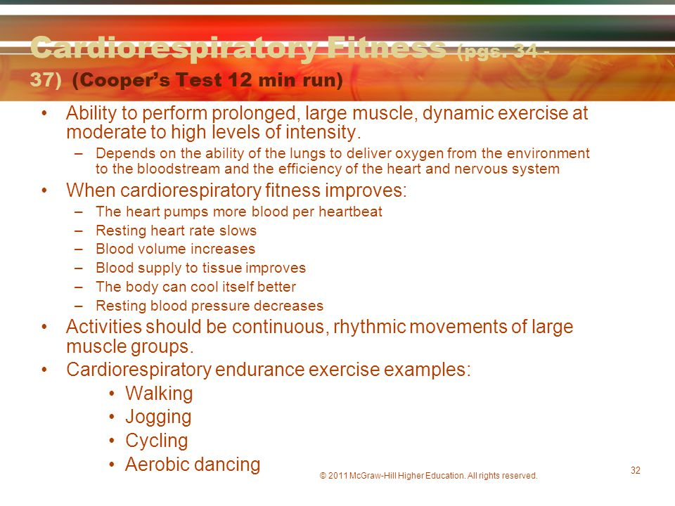 Cardiorespiratory Fitness (pgs. 34 - 37) (Cooper's Test 12 min run)