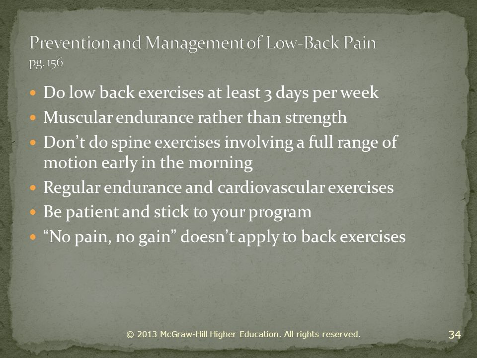 Prevention and Management of Low-Back Pain pg. 156